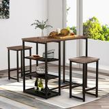 Latitude Run® Brown/Black 3-Piece Dining Table Set w/ Natural Wood Countertops & Bar Stools, Retro Bar Set w/ Shelf Wood/Metal in Black/Brown/Gray