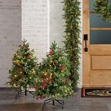 Set of 2 Christmas Cheer 3 ft. Pathway Trees - Frontgate - Outdoor Christmas Decorations