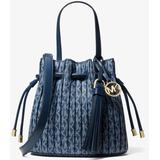 Willa Extra-small Pleated Logo Tote Bag - Blue - Michael Kors Totes