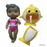 Baby Alive Baby Shark Black Hair Doll w/ Yellow Tail & Hood Bath Waterplay Toy