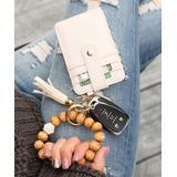 Aili's Corner Women's Key Chains TAN/CREAM - Tan Leopard Beaded Stretch Bracelet & Cream Key Ring Wallet
