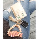 Aili's Corner Women's Key Chains BLUSH/CHAMPAGNE - Blush Leopard Beaded Stretch Bracelet & Champagne Key Ring Wallet