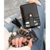 Aili's Corner Women's Key Chains BLACK/BLACK - Black Leopard Beaded Stretch Bracelet & Key Ring Wallet