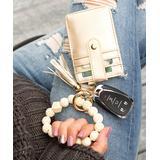 Aili's Corner Women's Key Chains CREAM/CHAMPAGNE - Cream Leopard Beaded Stretch Bracelet & Champagne Key Ring Wallet