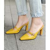BUTITI Women's Pumps Yellow - Yellow Embellished Bee Cross-Strap Pointed-Toe Mule - Women