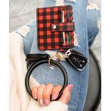 Aili's Corner Women's Key Chains Red - Red & Black Buffalo Check ID Wallet & Black Key Ring