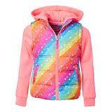 Pink Platinum Girls' Puffer Coats RAINBOW - Coral Multicolor Star Puffer Vest Jacket - Toddler & Girls