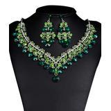 Ella & Elly Women's Earrings Green - Green Crystal & Silvertone Round-Cut Statement Necklace Set