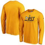 """Men's Fanatics Branded Gold Pittsburgh Penguins Authentic Pro Secondary Logo Long Sleeve T-Shirt"""