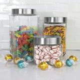 Home Basics 4 Piece Canister Set w/ Stainless Steel Lids, Size 9.0 H x 4.5 W x 4.5 D in | Wayfair WYF84561