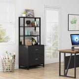 Wade Logan® 2 Drawer Vertical File Cabinet w/ Lock & Open Storage Shelves For Home Office Wood in Black, Size 61.8 H x 29.5 W x 15.7 D in | Wayfair