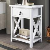 Laurel Foundry Modern Farmhouse® Jay 1 - Drawer Nightstand in White Wood in Brown/Green/White   Wayfair AAEFB1E5582B448990325450B96EE04E