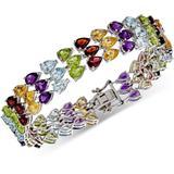 Multi-gemstone Pear Triple Row Bracelet (43 Ct. T.w.) In Sterling Silver - Metallic - Macy's Bracelets