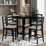 Red Barrel Studio® 5-Piece Wooden Counter Height Dining Set w/ Padded Chairs Wood/Upholstered Chairs in Brown, Size 36.3 H x 35.5 W x 35.5 D in