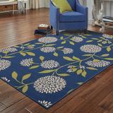 Andover Mills™ Annice Floral Blue Indoor/Outdoor Area Rug Polypropylene in Black, Size 21.0 W x 0.16 D in | Wayfair