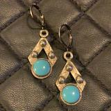Free People Jewelry | Fp Silver Turquoise Stone Tribal Earrings | Color: Blue/Silver | Size: Os