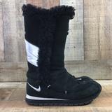 Nike Shoes | Nike Black Pom Pom Faux Fur Winter High Snow Boots | Color: Black/White | Size: 7.5