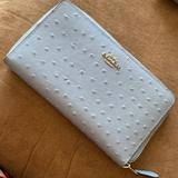 Coach Bags | Coach Full Zip Wallet Ostrich-Embossed Leather | Color: Blue/Silver | Size: Os