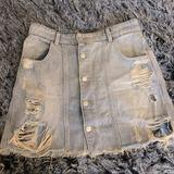 Free People Skirts | Free People Distressed Denim Jean Skirt | Color: Blue | Size: 6