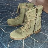 Free People Shoes | Free People Mtng Green Suede Combat Boots 409 | Color: Green | Size: 9