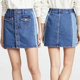 Madewell Skirts | Madewell Beverly Snap Front Panel Denim Mini Skirt | Color: Blue | Size: 25