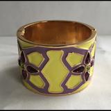 Kate Spade Jewelry | Kate Spade Wide Hinged Cuff Bracelet, Enamel | Color: Purple/Yellow | Size: Os