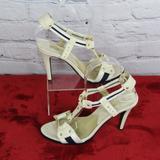 Michael Kors Shoes | Michael Kors Blue White Strap Stiletto Heels 7.5 | Color: Blue/Cream | Size: 7.5