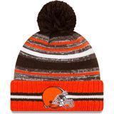 Men's New Era Brown/Orange Cleveland Browns 2021 NFL Sideline Sport Official Pom Cuffed Knit Hat