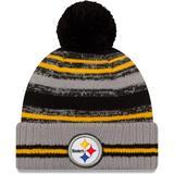 Men's New Era Gray Pittsburgh Steelers 2021 NFL Sideline Sport Pom Cuffed Knit Hat