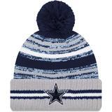 """Men's New Era Navy/Gray Dallas Cowboys 2021 NFL Sideline Sport Official Pom Cuffed Knit Hat"""
