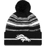 """Men's New Era Black Denver Broncos 2021 NFL Sideline Sport Pom Cuffed Knit Hat"""