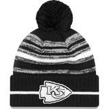 """Men's New Era Black Kansas City Chiefs 2021 NFL Sideline Sport Pom Cuffed Knit Hat"""