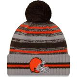 """Men's New Era Gray Cleveland Browns 2021 NFL Sideline Sport Pom Cuffed Knit Hat"""