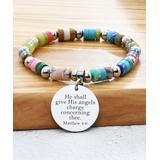 Pink Box Women's Bracelets - Stainless Steel 'Matthew 4:6' Beaded Charm Bracelet
