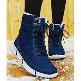 Pattrily Women's Cold Weather Boots blue - Blue Ultralight Faux Fur-Lined Waterproof Boot - Women