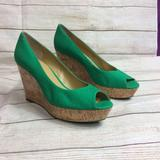 Nine West Shoes | Nwot Nine West Cheerful Fabric Wedges | Color: Green | Size: 10