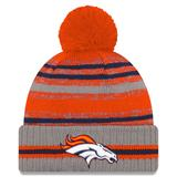 Men's New Era Gray Denver Broncos 2021 NFL Sideline Sport Pom Cuffed Knit Hat