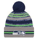 Men's New Era Gray Seattle Seahawks 2021 NFL Sideline Sport Pom Cuffed Knit Hat