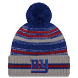 Men's New Era Gray York Giants 2021 NFL Sideline Sport Pom Cuffed Knit Hat