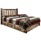 Homestead Collection Platform Bed with Storage in Queen with Laser Engraved Wolf Design in Stain & Clear Lacquer Finish - Montana Woodworks MWHCSBPQSLLZWOLF