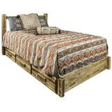 Homestead Collection Queen Platform Bed with Storage in Stain & Lacquer Finish - Montana Woodworks MWHCSBPQSL