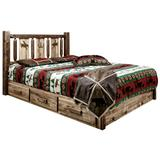 Homestead Collection Platform Bed with Storage in Twin with Laser Engraved Bronc Design in Stain & Clear Lacquer Finish - Montana Woodworks MWHCSBPTSLLZBRONC