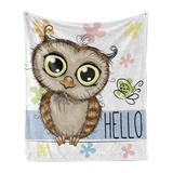 East Urban Home Ambesonne Owls Soft Flannel Fleece Throw Blanket Cartoon Owl & A Butterfly On Floral Background Hello Message Illustration Cozy Plush For Indoor A Fleece