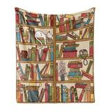 East Urban Home Ambesonne Cat Soft Flannel Fleece Throw Blanket Nerd Book Lover Kitty Sleeping Over Bookshelf Library Academics Feline Boho Design Cozy Plush For