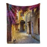 East Urban Home Ambesonne European Soft Flannel Fleece Throw Blanket Floral Medieval Tuscan Alley At Afternoon Street Cat Historical Houses Cozy Plush For Indoor An Fleece