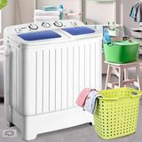 Easehold 17.6 Lbs Compact Twin Tub Washing Machine Washer Spin Dryer, Size 28.35 H x 24.8 W x 14.0 D in | Wayfair 17630592