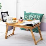 honer Bed Table - Multifunctional Lap Table Breakfast Bed Table Service Tray Laptop Computer Table Sofa Foldable Legs 100% Solid Bamboo in Brown