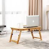 honer Bamboo Laptop Desk,Adjustable Portable Breakfast Serving Bed Tray Table w/ Drawer For Eating & Reading Ipad Computer Lap Desk | Wayfair