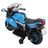 JIU&FAN Ride On Toy Racing Style Motorcycle Electric Tricycle Battery Operated w/ Light & Mp3 Plastic in Blue, Size 22.8 H x 18.3 W x 34.2 D in