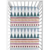 Triangle & Blue Fitted Crib Sheet By Sweet Jojo Designs in Yellow, Size 8.0 H x 28.0 W x 52.0 D in   Wayfair CribSheet-Tri-BU-YW